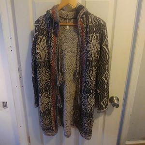 Free people tribal long hooded cardigan sweater